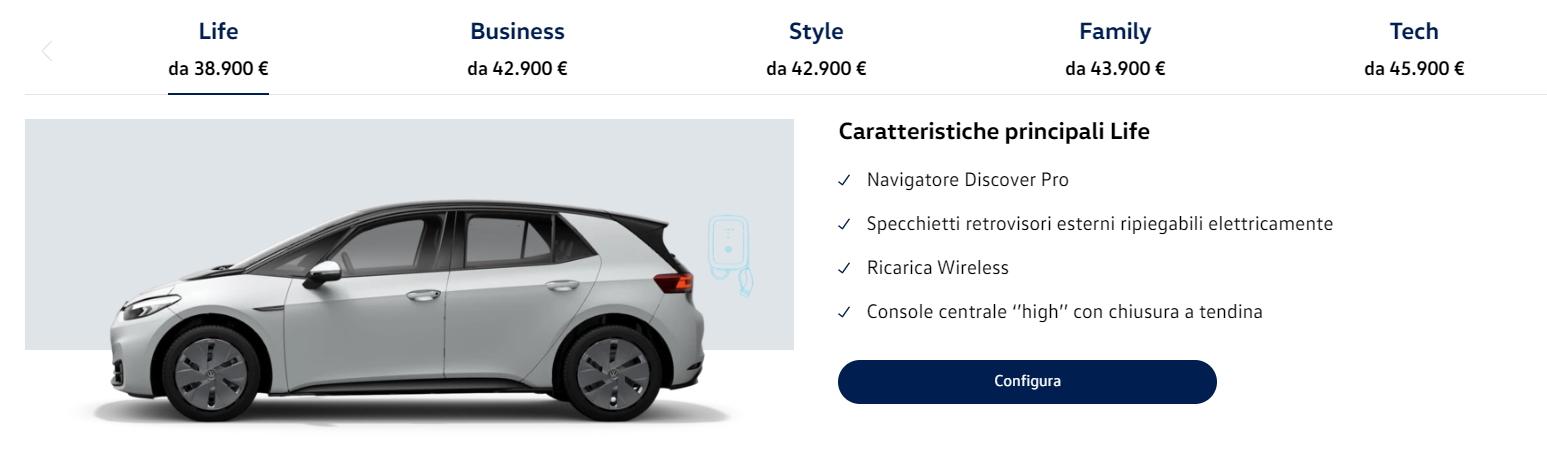 Volkswagen ID.3 configuratore